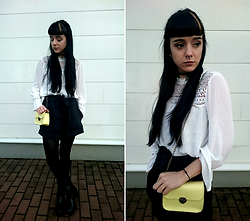Alice A. - Yellow Handbag, H&M High Waisted Shorts, Vero Moda White Flowy Blouse - Candylicious