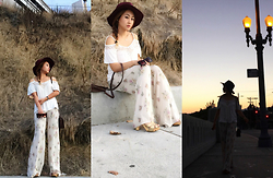 The Hala Way - Always Me Wool Burgundy Fedora Hat, Zerouv Cat Eye Sunglasses, Open Gates Tan Floral Palazzo Pants, Always Me Cold Shoulder Crochet Lace Top - Warm Girly Haute Hippie + Woodstock