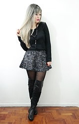 Thais Chung - Shop Tk Black Long Sleeved Shirt, Shop Tk Tweed Skirt, Bianti Over The Knee Boots - HEY HO! LET'S GO!