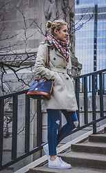 Meredith Simmons - Dooney &Bourke Navy Handbag, Adidas White Superstars, Zara Trench Coat, Topshop Jamie Jeans - Michigan Avenue