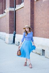 Ashley Hutchinson - Forever 21 Boater Straw Hat, Boden Breton Stripe Tee, Asos Blue Pleated Midi Skirt, Forever 21 Lace Up Wedges, Alexander Mcqueen Tan Leather Satchel - Inner French Girl