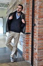 Hector Diaz - Abercrombie & Fitch Varsity Cardigan (Similar), J. Crew Classic Navy Gingham Button Down, J. Crew Light Khaki Style Chinos, Creative Recreation Sneakers (Similar), H&M Coat (Similar) - Homegrown Friends