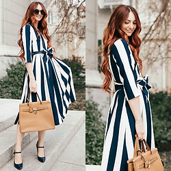 Jackie Welling - Dainty Jewell Striped Midi Dress - Bon Voyage Dress
