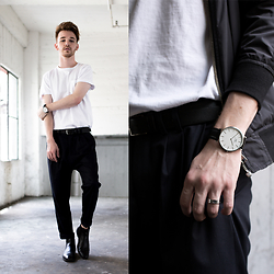 Drew Scott - Urban Outfitters White Tee, Zara Pleated Trousers, Chelsea Boots, Daniel Wellington Watch, Topman Black Bomber - Crisp White Tee