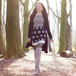 Sonja Vogel - Zara Striped Off Shoulder Top, Boohoo Skirt, Sacha Grey Over Knee Boots, Shoeby Black Long Coat - In The Forest