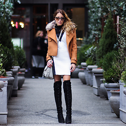 Lauren G. - Boohoo Cropped Coat With Fur Collar, Raen Marbled Sunglasses, Sachin + Babi Mixed Media Shift Dress, Ted + Muffy Over The Knee Lace Up Boots, Joelle Hawkens Leather Crossbody Bag - Seeking Soho
