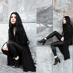 CLAUDIA Holynights - Sheinside Leather Look Pants, Dropp Cutout Booties - Black textures