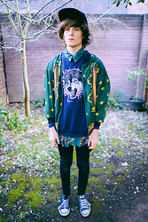 Olly Newport - Primark Blue Hat, Beyond Retro Vintage Colourful Shirt, Beyond Retro Vintage Silk Green Aztec Blazer Thing, Beyond Retro Vintage Pink Electric Wolf Jumper, Primark Black Super Skinnies, Converse Green And Black - I'm a tumblr meme