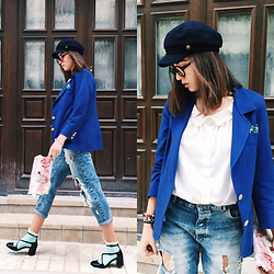 Fransi - Lindex Hat, Bershka Jeans, Stradivarius Shoes - Electric blue & pastel
