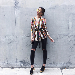 Jessi Malay - H&M Earrings With Fringe, H&M Jacquard Weave Jacket, Dior Technologic Gold Sunglasses, H&M Platform Slip In Shoes, Stella Mccartney Falabella Pearl Trim Bag - #OOTD
