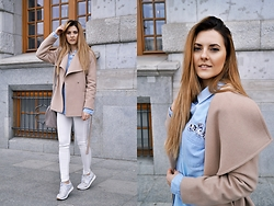 Angelika Rachocka -  - Beige Coat & White Trousers