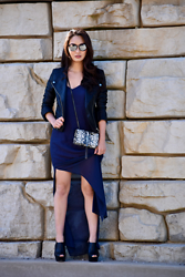 Kimberly Kong - Boohoo Faux Moto Jacket, Ysl Snakeskin Crossbody Bag, Gentle Fawn Maxi Dress, Aldo Platform Peep Toes, Covry Mirrored Sunglasses - The Fleur Dress
