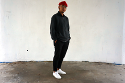 Dan Pantoja - American Apparel Red Cuffed Beanie, Calvin Klein Dark Grey Fleece Jacket, Acne Studios Black Formal Trousers, Common Projects White Achilles Lows - MINIMAL MOVEMENT Δ