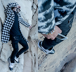 Younes Bouadi - Houndstooth, Wool And Blends Long Coat, Black Army Zipper Jeans, Striped Bucket Hat - PANDA