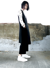 Jessiez C - Dickies Shoes, Zara Shirt, Nude Long Vest - _Black n White