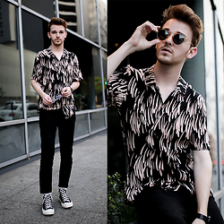 Drew Scott - Allsaints Patterned Button Down, Acne Studios Cropped Denim, Comme Des Garçons Converse, Raen Crystal Sunnies - Juneau