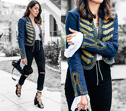 Francesca Felix - Forever 21 Black Jeans, Freepeople Military Band Jacket, Ysl Lace Up Shoes - Im with the band