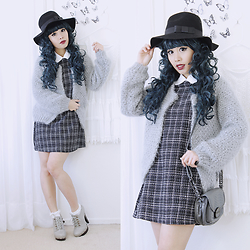 Doll Delight - Sheinside Tweed Dress, Sheinside Mohair Coat - Spring Storm
