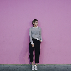 Nineteen He - Cos Top, Cos Pants, Adidas Sneakers - Pink wall