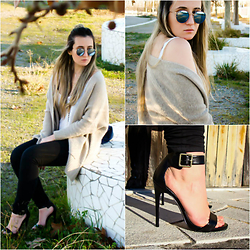 Maria M. - Zara Cardigan, Steve Madden Heels, Ray Ban Sunglasses - Keeping it simple.