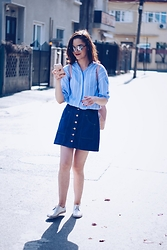 Andreea Birsan - Christian Dior Sunglasses, New Yorker Striped Shirt, Stradivarius Denim Button Front Skirt, Zara Pink Backpack, Silver Shoes - Denim button front skirt & striped shirt