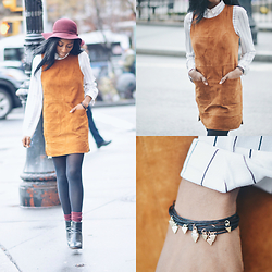 Nkenge Brown - Forever 21 Genuine Suede Dress, Clarks Booties, Jc Penny Wool Hat, Lydell Nyc Stacked Bracelets - Vintage Vibes