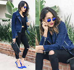 Francesca Felix - Zero Uv Round Sunglasses, Blank Nyc Clothing Blue Suede Jacket, Forever21 Ripped Black Jeans, Aquazzura Blue Heels - Black and Blue