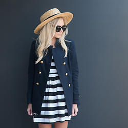 Kylee Snelgrove - Zara Blazer, Nordstrom Dress, H&M Boater Hat - Nautical.