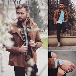 Tomasz Joziewicz - Pull & Bear Jeans Shirt, Zara Trousers, Vagabond Chelsea Boots, Vintage Peacoat, Bravur Watches Watch - The signs of spring