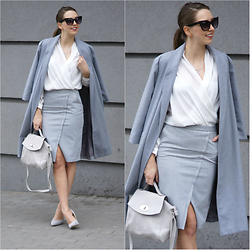 Natalia Przała - Sheinside Grey Coat - Pencil skirt