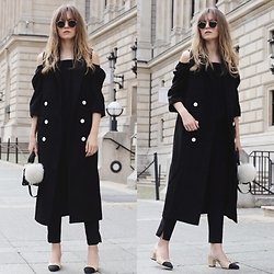 Livia Auer - Ray Ban Ray Ban Round Metal Sunglasses, Jovanna Long Vest, Chanel Slingback Pumps, Vila Off Shoulder Blouse - Off-Shoulder And Long Vest