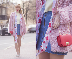Julia F. - Dresslink Fluffy Coat, Mohito Sweater, Asos Denim Skirt, Asos Mini Bag, New Look Loafers - Pink and red