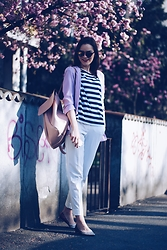 Andreea Birsan - Christian Dior So Real Sunglasses, Zara Striped Top, Debenhams Blazer, Zara Backpack, Mango White Trousers, Debenhams Glitter Flats - Glitter flats & white look