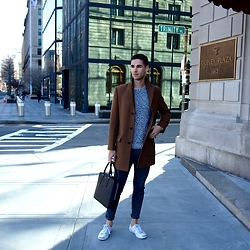 John Banoub - Camel Topcoat, Sandro Black Attaché, Converse Jack Purcell Sneakers, All Saints Grey Skinny Chinos, Bonobos Marled Sweater - Pre-Spring Casual