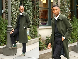 Igee Okafor - Frank And Oak Shirt, Brooks Brothers V Neck Sweater, H&M Trousers, De'murk Trench Coat, The Tie Bar Socks, Jay Butler Penny Loafers - Dressing For The Spring Transition: The Chilly Days