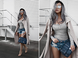 Willabelle Ong - Reflective Mirrored Sunglasses, Long Sleeved Heather Grey Henley, One Teaspoon Bonitas Denim Shorts, Lightweight Trench Coat With Self Tie Belt, Knee High Caged Heels, Kyra Nicole Chain Bag - Grey