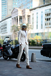 INWON LEE - Byther White Straw Panama Hat, Byther White Button Blazers, Guidomaggi Brown Formal Boots - Modern Classic Casual Style Classy Neat Fashion