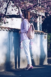 Andreea Birsan - Debenhams Blazer, Christian Dior So Real Sunglasses, Zara Pink Backpack, Mango Trousers, Debenhams Glitter Flats - Glitter flats & white look II