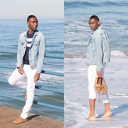 Willie Sparks - J Brand Denim Jacket, Zara Polo, Zara White Jeans, Sperry Topsider Boat Shoes - Nautical Vibes