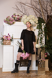 Simona Preda - Naiv Black Dress, Mihaela Glavan Boots - All black outfit with princess dress and rock boots!