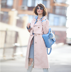 Galant-Girl Ellena - 3.1 Phillip Lim Blue Leather Backpack, Choies Blush Trench Coat - Blush...
