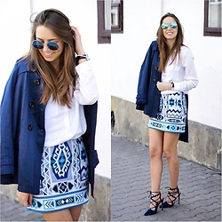 Natalia Przała - H&M Mini Skirt, Zara Lace Up Heels - Blue vibes