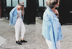 Joey Taylor - Topshop Denim Jacket, Topshop Stripe Trousers, Zara Loafers, H&M Basic Tee - TOPSHOP FRAYED EDGE DENIM JACKET