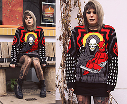INNER RIOT † - Killstar Saviour Knit Sweater, Primark Basic Jersey Shirt, Primark Dotted Pantyhose, Unif Trench Boot - Saviour in Trench