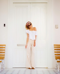 Giuliana ♡ - Amatista Maran Palazzo Pants, Amatista Maran White Top, Salvatore Ferragamo Pink Scarf, Gucci Sunnies, Steve Madden Nude Pumps - White Doors