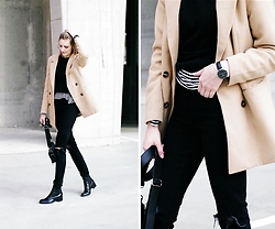 Katarina Vidd - Missguided Camel Coat, All On My Blog - Layer of stripes.