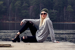 Sotzie Q - Wholesale7 Strappy Platform Sandals, Wholesale7 Ripped Skinny Jeans, Mishka Gray Sweatshirt - Slow