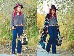 Ojie Papalli - Boohoo Fedora Hat, Boohoo Widepants, Versace Bag, Thrift Store Blouse, Terranova Cape - My Spring