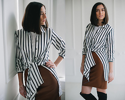 Irina Fedorova - Zara White Stripe Shirt, Stradivarius Brown Leather Skirt, Over The Knee Boots - 4th look with the white shirt
