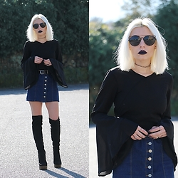 Cátia Gonçalves - Romwe Blouse, Choies Denim Skirt, Lamoda High Knee Boots - Lately I've been measuring 'Seems my time is growing thin